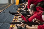 Sailors fire M-16 Assault rifles during a weapons qualification
