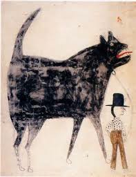 "Bill Traylor (Untitled) ""Man and Large Dog"""