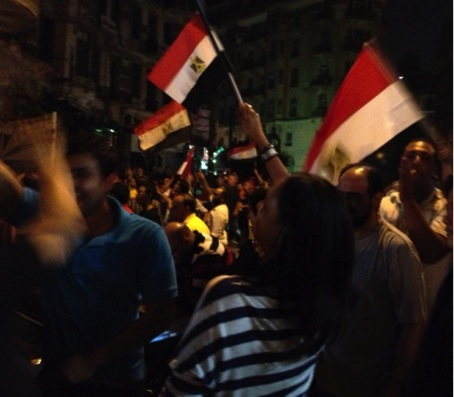 Minutes after the Egyptian military announced the end of Mohamed Morsi's rule on TV, July 3, 2013. Copyright Photos: Maria Frederika Malmström.