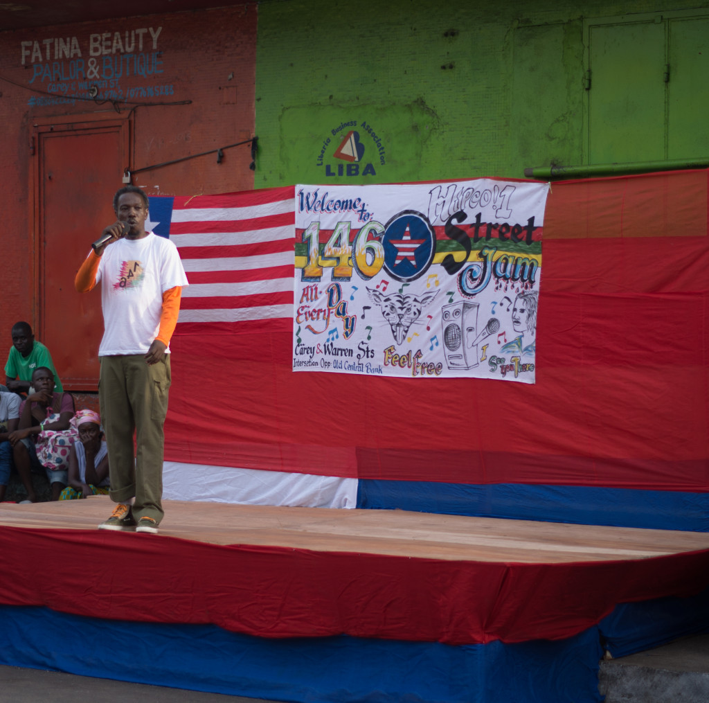 A Liberian rapper performs in Monrovia. Photo by Ingrid Gercama.