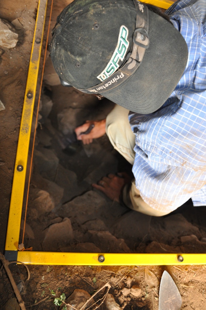 Dr. John Arthur excavates in Mota Cave. Photo courtesy of USFSP.
