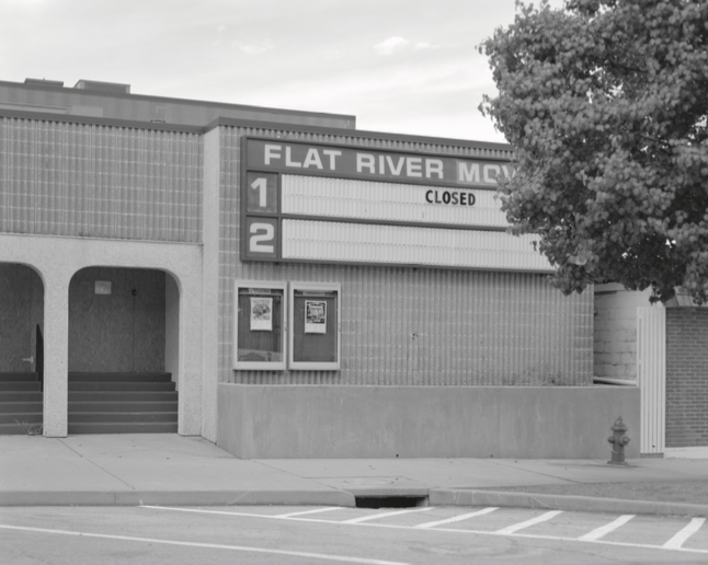 Figure 3. Flat River Movies on Main Street in downtown Park Hills, Missouri. Like many local businesses in the region, the theater has not been able to keep its doors open. More than 20 percent of the population in this region live below the poverty line; unemployment spiked to ten percent in February 2014. Residents frequently voiced concern about a lack of living-wage jobs in the area.